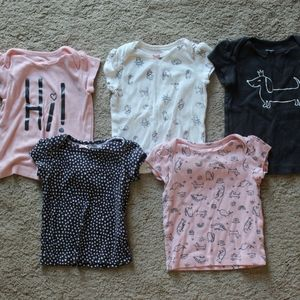 Baby Girl Bundle 5 Carter's S/S T-shirts 12 months